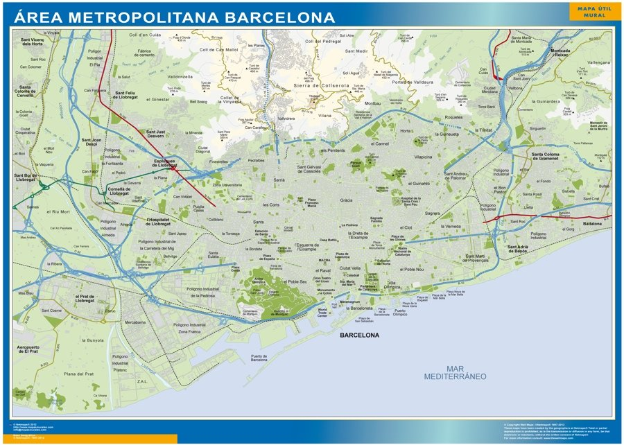 Mapa Barcelona area metropolitana